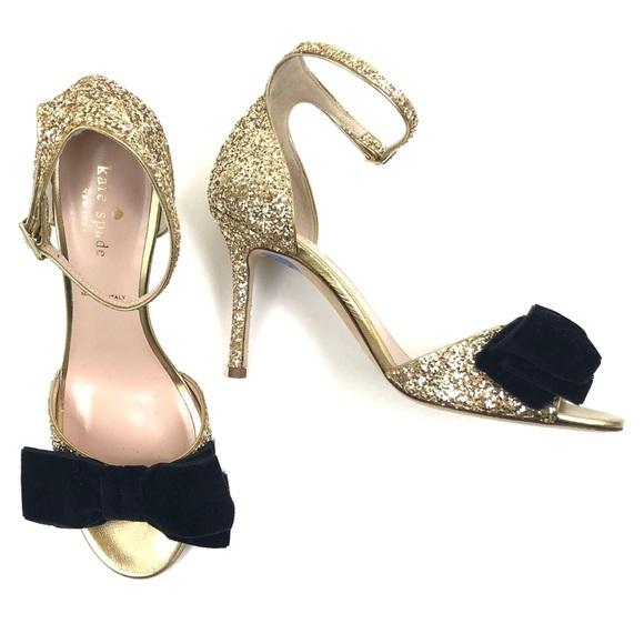 44e0538983a KATE SPADE • new irwin gold glitter heels